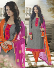 Grey color with Orange on Pink embroidery neck design and bottom border Designer unstitch Salwar Kameez