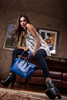 high quality genuine leather 3 partition tote bag in blue for women