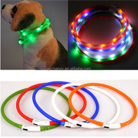 Modern Design New USB Rechargeable Led Dog Pet Flashing Collar Light Up Chargeable Night Safety Necklace Free Size Six Colors