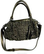 Japan wholesale cool design 2 way shoulder and tote bronze bag handbag women leather fringed bags