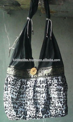 KTH-28C Black color print vintage cotton shopping bag / stylish bags