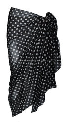 Black Cotton Sarong with Polka Dot Design