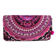 Belle portefeuille Hmong broderie à la main de thaïlande - rose