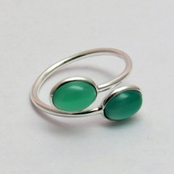 Delicate Light !! Green Onyx 925 Sterling Silver Ring Free Size, Wholesale Jewelry On Factory Price, Rings From India