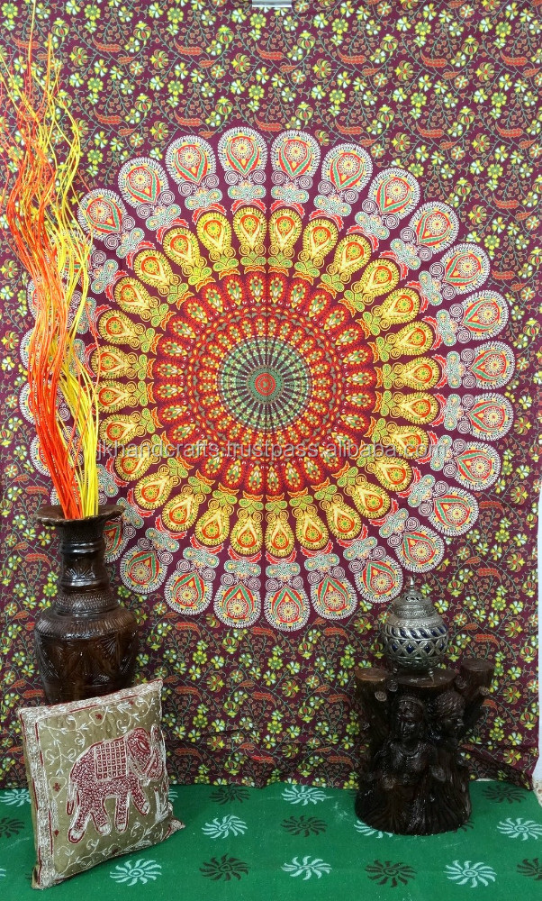 Decorative Wall Hanging Tapestry : Indian abstract mandala tapestry decorative wall hanging
