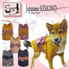 Various types of Japanese Kimono dog clothes for a walk , sample sets available