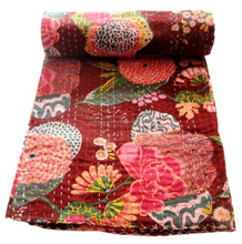 RTHKG-23 Screen Vintage Look Flower Colorful Printed Indian Bengali Cotton Kantha Gudari Bedspread Traditional Wholesaler Throws