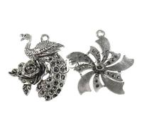 Various Zinc Alloy Component antique silver color plated nickel lead & cadmium free 45-65mm Hole:Approx 2-5.5x6mm 120PCs/Lot So