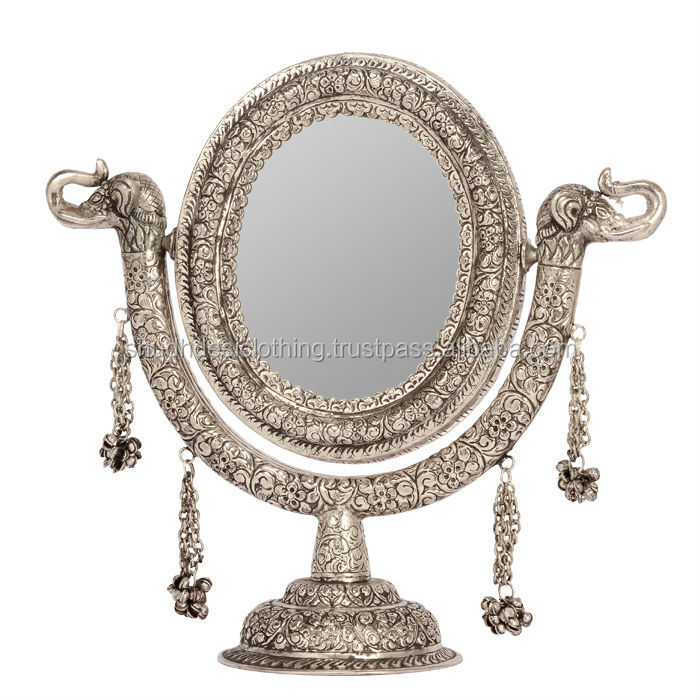 Vintage home decorative items white metal stand mirror for Silver stand up mirror