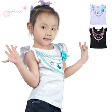 Cheap Price Printted Pearl Necklace O-Necklace Cut Girls Fashion T-shirt