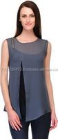 Ladies tops latest design india wholesale tunic\ladies plain georgette shirts