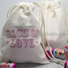 Gots certified bulk production plain printed organic cotton drawstring bags