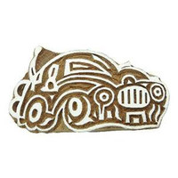 Decorative Wooden Textile Car Carved Block Stamp Collectible Blocks PB2416A