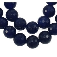 "Natural White Jade Gemstone Beads, Faceted Round, Blue, about 8mm in diameter, hole: 1mm, 49 pcs/strand, 15.5"" JBS042-8MM-23"