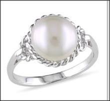 9-9.5 mm White Freshwater Pearl Fashion Ring Silver-ALB000022-0500
