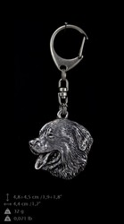 Bernese Mountain Dog, silver covered keyring, Art-Dog