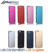 7 Colors - Plain Aluminum Brushed Metal & Rubberized Interior Slim Cover Case for iPhone 6 4.7 Inch USA, Los Angeles Wholesale