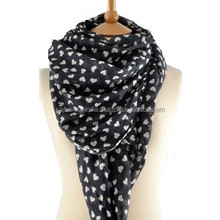 A Grey Cotton Scarf With Little White Hearts by Susan Gaunt Design print 100% cotton scarf 2015-2016