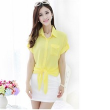 601# Breathable /Fashion Chiffon Style Shirt For Office Lady,Fashion Short Sleeve Chiffon Style Shirt For Lady