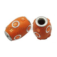 Handmade Indonesia Beads, with Brass Core, Drum, Orange, Size: about 14mm wide, 20mm long, hole: 4mm IPDL-A006-1