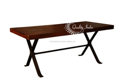 Brown Color Wooden Top With Metallic Cross Legged Base Dining Table