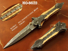 "9.0"" Damascus Folding Knife/Custom Handmade Damascus Folding Pocket Knife/Damascus liner lock folding knife"