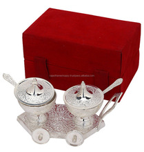 Indian Navratri Gift Articales / Kitchen Silver Plated Brass Bowl With Hand Carvings