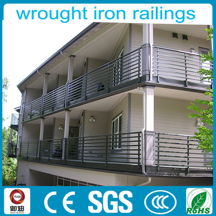 Modern Indoor Used Balcony Horizontal Wrought Iron Railings