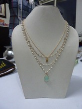 pearl, labradorite, aqua chalcedony necklaces with Rosary Chain, pear shape Stone with sterling silver and rose gold