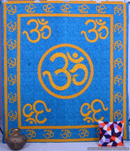 Indian Turquoise Om Mandala Queen Psychedelic Tapestry Wall Hanging, Indian Bedspread Hippy Bohemian Handmade Mandala Decorative