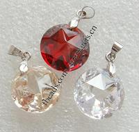 Cubic Zirconia (CZ) Brass Bail Pendants Flat Round more sizes for choice & faceted mixed colors Hole:Approx 1.5mm 50PCs/Lot Sol