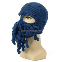 New Fashion Unisex Octopus Winter Warm Knitted Wool Ski Face Mask Knit Hat Squid Cap Tentacles Beanie Hat 6 Colors For Choice