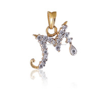 """GORGEOUS """"M"""" UNISEX PENDANT INITIAL ALPHABET IN SOLID BIS HALLMARK 22KT YELLOW GOLD AT WHOLESALE RATES"""