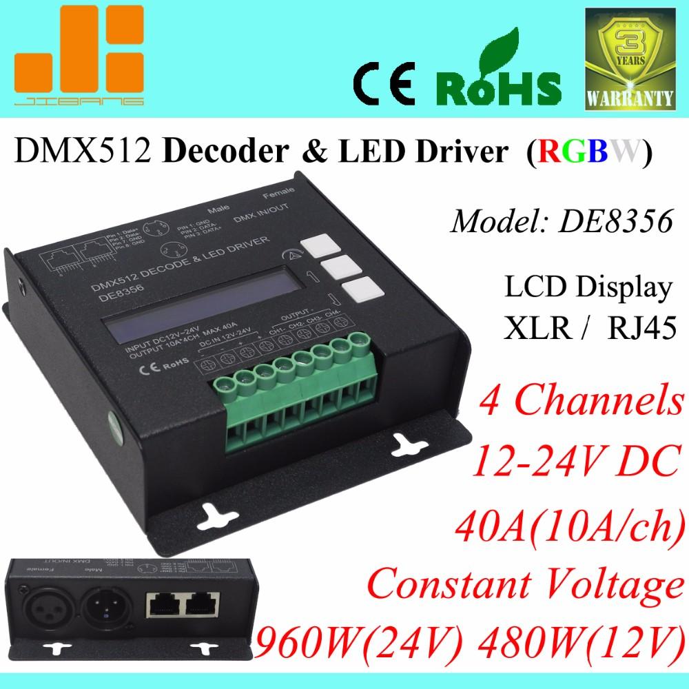 Rgbw Dmx Decoder,4ch Dmx512 Led Driver,Xlr/rj45,40a/960w Pn:de8356 ...