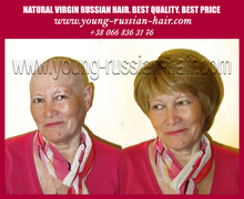 Short wigs free style high grade quality best looking of unprocessed natural color dark blond/ light brown Russian human hair