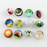 Brass Glass Snap Buttons, with Ball Pattern, Flat RoundJeans Buttons, Platinum, Mixed Color, 18x10mm; knob: 5~5.5mm
