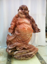 Hand Sculpture Carved Red Marble Stone Laughing Buddha Statue