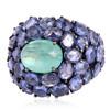 Tanzanite Gemstone Designer Dome Ring, 14k Gold Silver Emerald Gemstone Dome Ring, Unique Design Cocktail Ring Jewelry