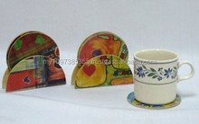5 Pieces/set Design Wooden Coaster With Cork, Wooden Coaster, Water Resistant