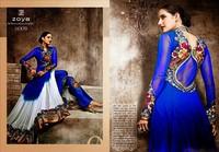 Floral bridal white & nevy blue 3 in one style anarakali lehenga choli with heavy emroidered work salwar suit