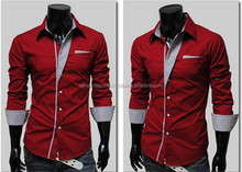 9008 2015 BEST SALES New Mens Shirts Casual Slim Fit Stylish Mens Dress Shirts Black,White M,L ,XL,XXL