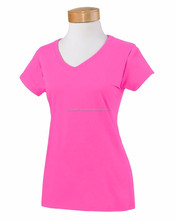 2015 fashion special style new design V-neck ladies t-shirt