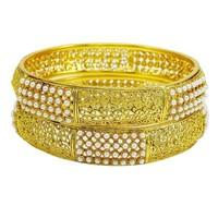 Goldtone Designer Indian Traditional Women Kada/Bangles Bollywood Jewelry 2*6