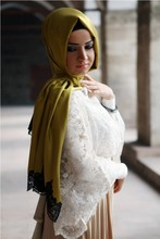 2015 New Style Exclusive High End Silk Looking Laced Hijab shawl 1011