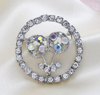 Rhinestone ooch Zinc Alloy t Round platinum color plated with rhinestone nick lead & d free 40x40mm Sold By PC