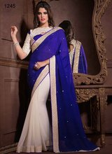 Indian wedding bridal georget saree/ exclusive designer Saree with royal blue pallu and golden border