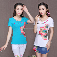2016 OEM popular Embroidered neck short sleeve cotton t shirt for women