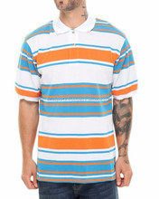 100% Cotton Pique Custom Made Striped Polo Shirts / Striper fabric Polo Shirts