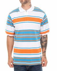 100% Cotton Pique Custom Made Striped Polo Shirts / Striper fabric Polo Shirts