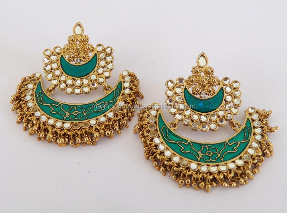 2015 punjabi chandelier earrings wholesale meenakari